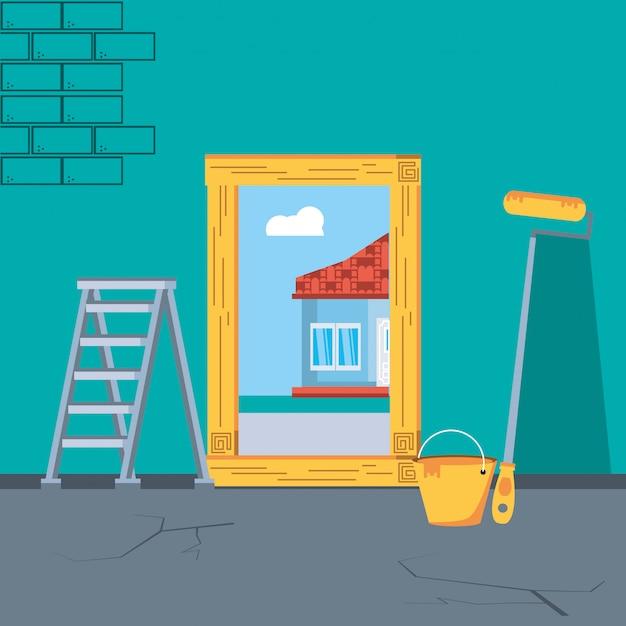 Intérieur de maison en construction avec des outils Vecteur Premium
