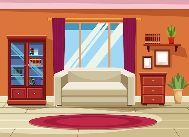 Intérieur de maison avec décor de meubles Vecteur gratuit