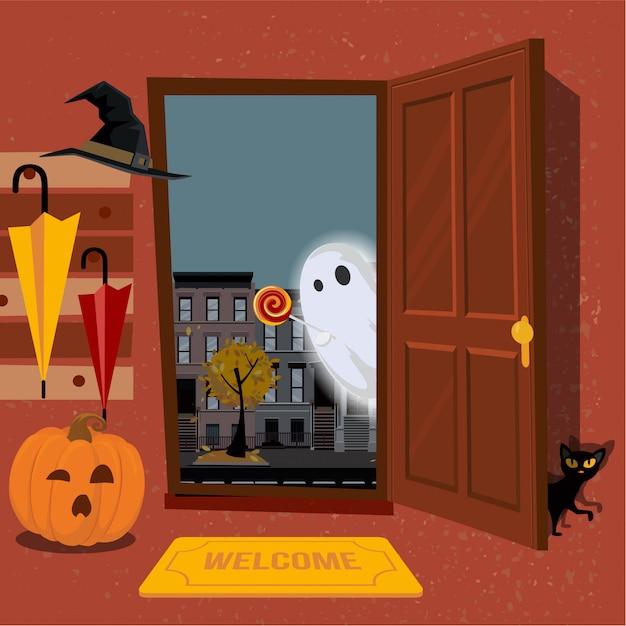 Intérieur De Maison Décoré Pour Halloween Potiron Avec Mug