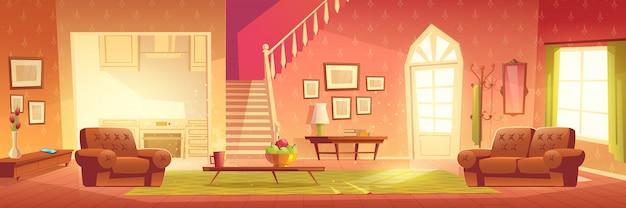 Intérieur de maison de dessin animé. hall lumineux et salon Vecteur gratuit