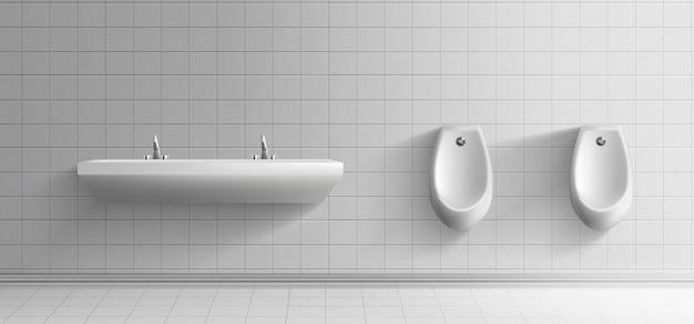 Intérieur minimaliste des toilettes publiques pour hommes Vecteur gratuit