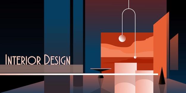 Intérieur Moderne Abstrait Dans Des Tons Pastel De Couleur Bleue Classique. Vecteur Premium