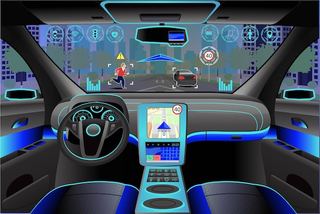 Intérieur Moderne De Voiture, Vue Du Cockpit à L'intérieur. Illustration. Intelligence Artificielle Vecteur Premium