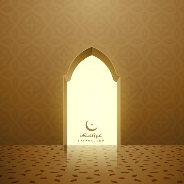 Intérieur de la mosquée dorée avec porte Vecteur gratuit