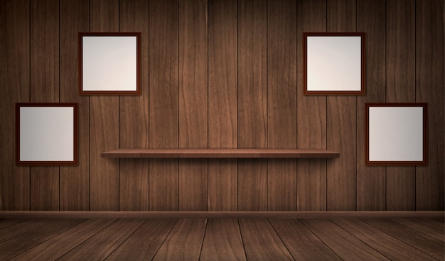 Intérieur D'une Pièce En Bois Avec étagère Et Cadres Vecteur gratuit