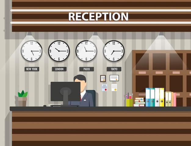 Intérieur De Réception En Bois Vecteur Premium