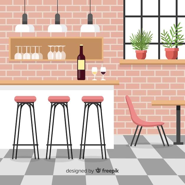 Intérieur de restaurant élégant avec un design plat Vecteur gratuit