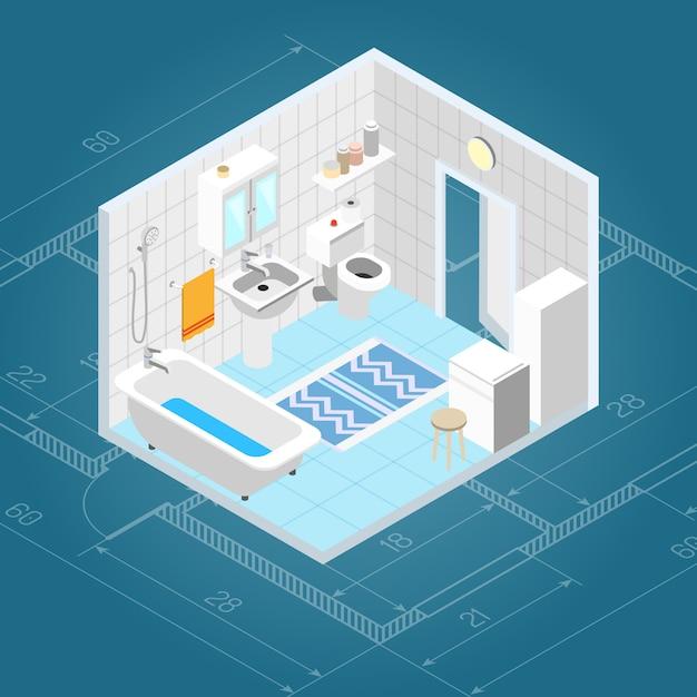Intérieur de la salle de bain isométrique Vecteur gratuit