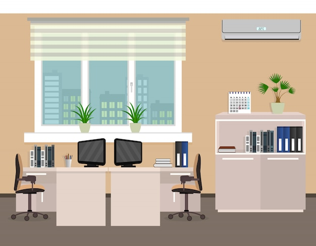 Intérieur De La Salle De Bureau Comprenant Deux Espaces De Travail Avec Fenêtre Extérieure Paysage Urbain. Vecteur Premium