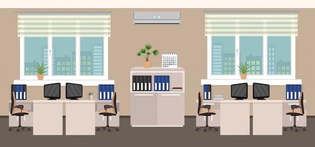 Intérieur De La Salle De Bureau Comprenant Quatre Espaces De Travail Avec Fenêtre Extérieure Paysage Urbain. Vecteur Premium