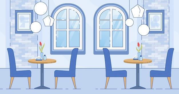 Intérieur De La Salle De Café Moderne De Couleur Bleu Blanc Vecteur Premium