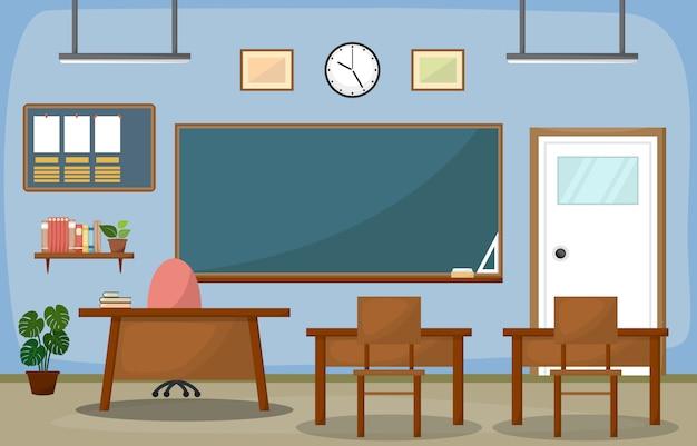 Intérieur de salle de classe d'école blackboard furniture flat Vecteur Premium