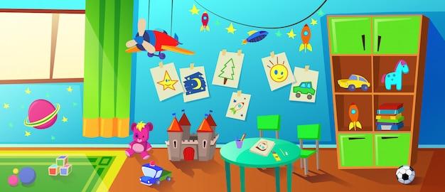 Intérieur D'une Salle De Jeux Ou D'un Jardin D'enfants Vecteur Premium