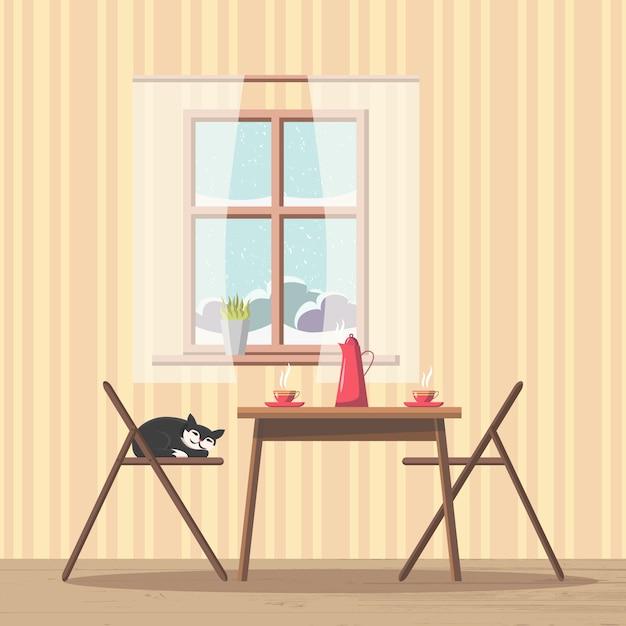Intérieur de la salle à manger avec table et chaises près de la fenêtre avec vue enneigée Vecteur Premium