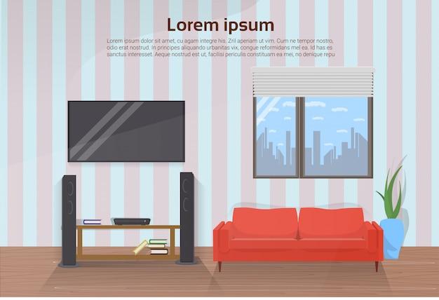 Intérieur de salle de séjour moderne avec canapé rouge et grand téléviseur à led sur le mur. modèle de texte Vecteur Premium
