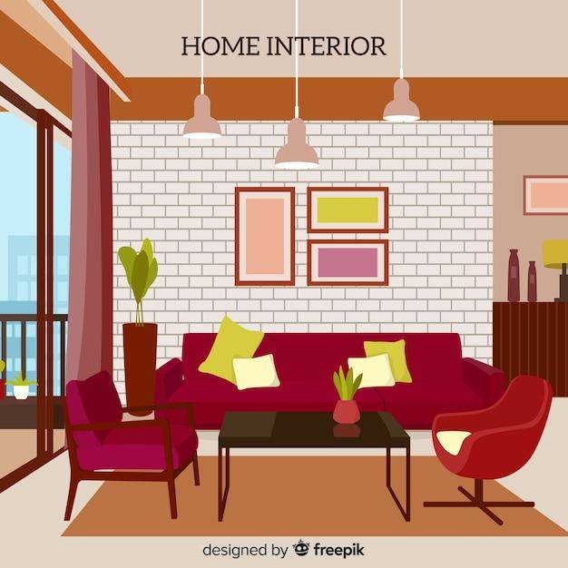 Intérieur de salon élégant avec un design plat Vecteur gratuit