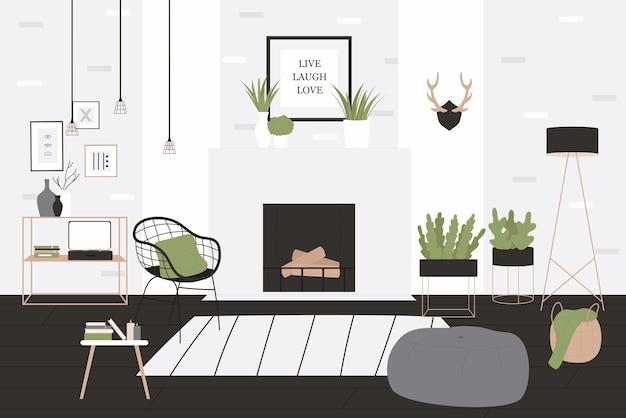 Intérieur De Salon De Style Loft Vecteur Premium