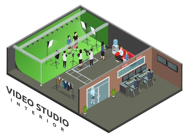 Intérieur de studio d'enregistrement vidéo professionnel en direct avec illustration vectorielle de vue aérienne signe et caméra opérateur isométrique Vecteur gratuit