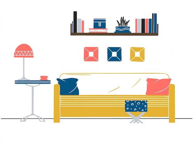 Intérieur de style scandinave. une partie de la chambre illustration vectorielle dessinés à la main d'un style de croquis Vecteur Premium