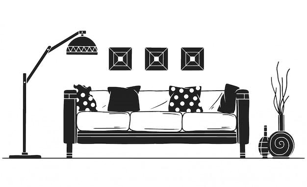Intérieur de style scandinave. partie du salon. illustration vectorielle dessinés à la main Vecteur Premium