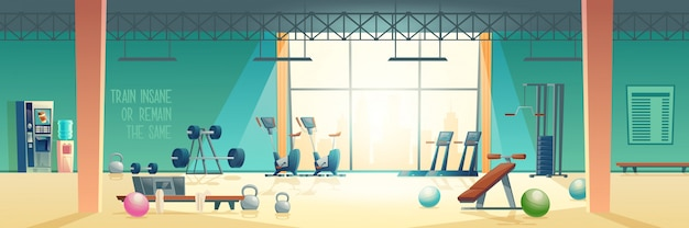 Intérieur De Vecteur De Dessin Animé Moderne Fitness Club Gym Vecteur gratuit