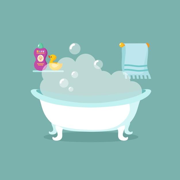 Intérieur de vecteur de dessin animé de salle de bain avec baignoire pleine de mousse et douche Vecteur Premium