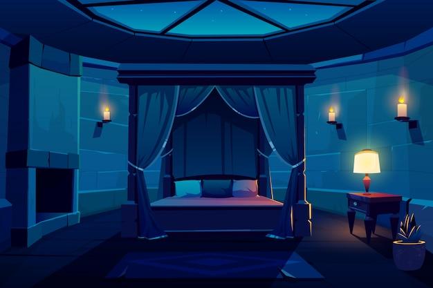 Intérieur de vecteur nuit dessin animé chambre d'hôtel Vecteur gratuit