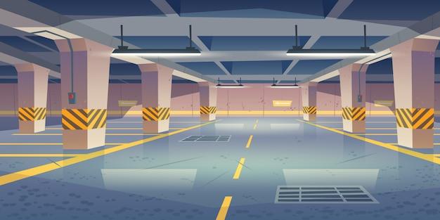 Intérieur De Vecteur De Parking Souterrain Vide Vecteur gratuit