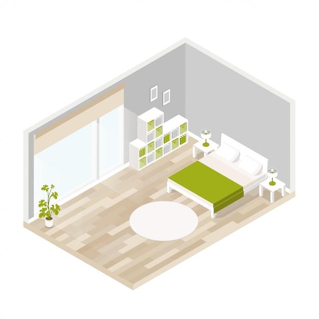 Intérieur vivant pour salon en isométrique Vecteur Premium