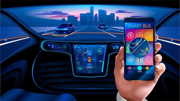 Intérieur de la voiture intelligente autonome Vecteur Premium