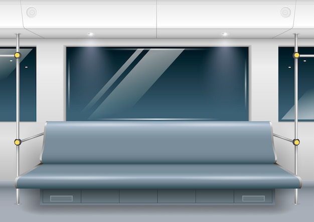Intérieur de la voiture de métro Vecteur Premium