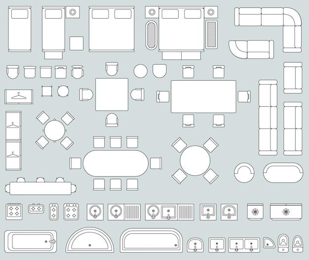 Intérieur de la vue de dessus avec des icônes de meubles de ligne Vecteur Premium
