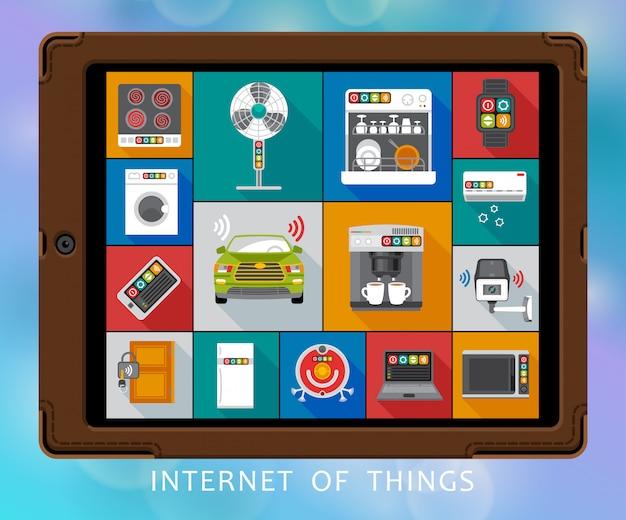 Internet du jeu d'icônes plat choses Vecteur Premium