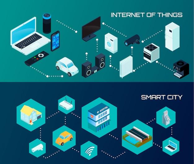 Internet Des Objets Et Bannières De La Ville Intelligente Vecteur gratuit