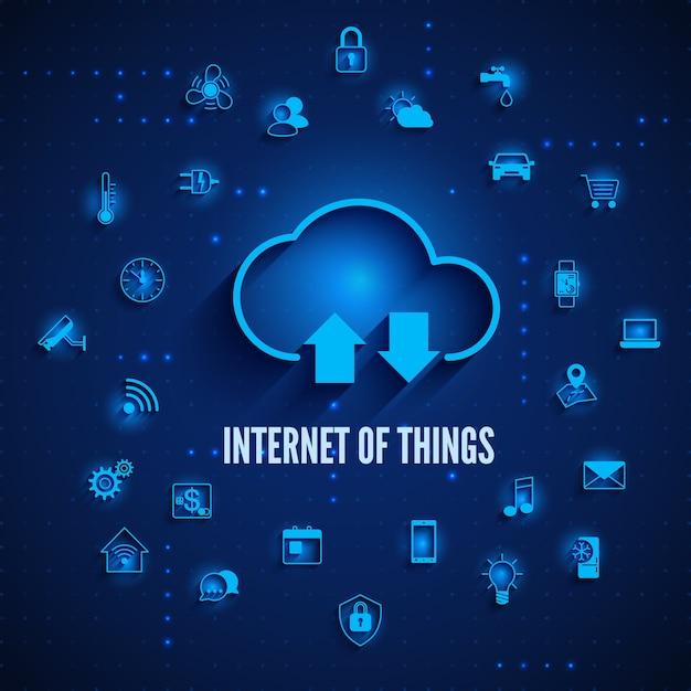 Internet Des Objets Cloud Et Autres Icônes Concept Iot Vecteur Premium