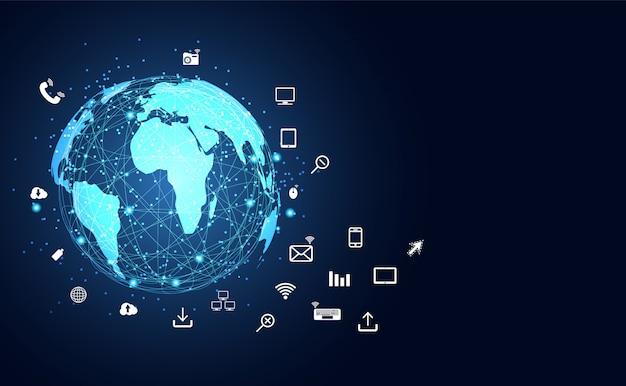 Internet des objets et connectivité Vecteur Premium