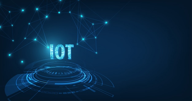 Internet Des Objets (iot) Concept.big Data Cloud Computing Network Of Physical Devices With Secure Network Connectivity On Dark Blue Color Background. Vecteur Premium