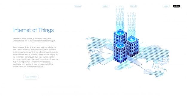Internet Des Objets (iot) Et Concept De Mise En Réseau Pour Les Appareils Connectés. Toile D'araignée De Connexions Réseau Avec Sur Un Fond Bleu Futuriste. Vecteur Premium