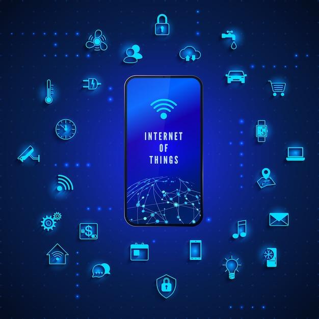 Internet Des Objets Technologie De Réseau Mondial Contrôle Et Surveillance Internet Vecteur Premium