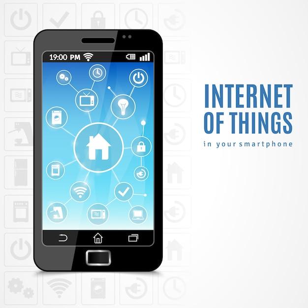 Internet des objets téléphone Vecteur gratuit