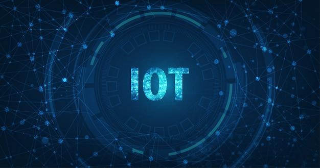 Internet Of Things (iot) Concept.big Data Cloud Computing Réseau De Périphériques Physiques Dotés D'une Connectivité Réseau Sécurisée Sur Fond Bleu Foncé. Vecteur Premium