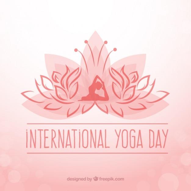 Interntonal fond jour de yoga avec le symbole Vecteur gratuit