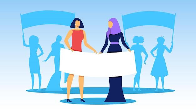 Interracial girls se tenir en rang avec de grandes bannières Vecteur Premium