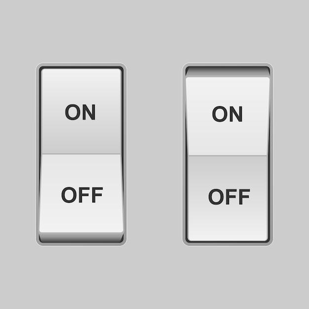 Interrupteur à bascule réaliste. positions allumées et éteintes Vecteur Premium