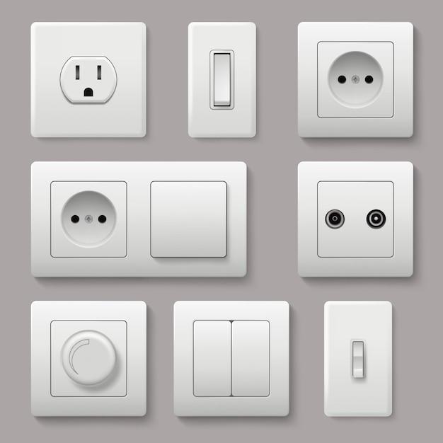 Interrupteur Mural. Prise De Courant électrique électricité Tourner Et Allumer La Fiche Des Images Réalistes Vecteur Premium