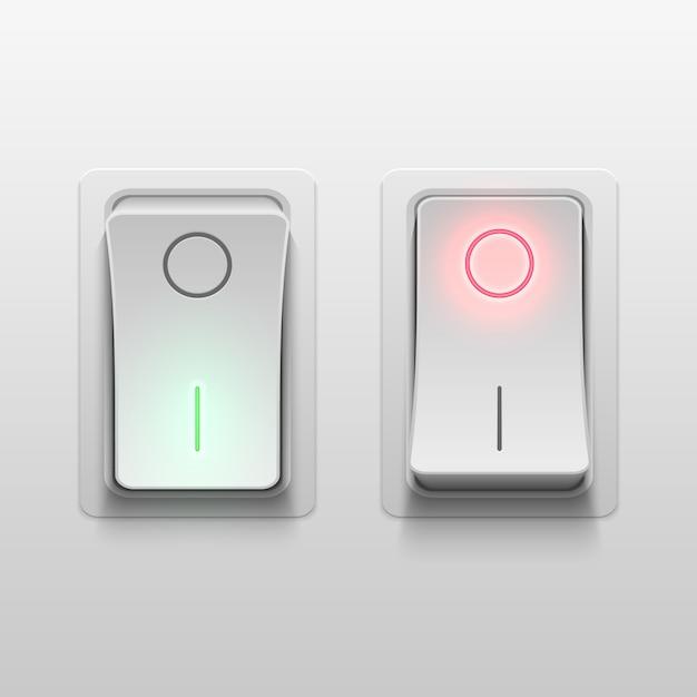 Interrupteurs à bascule électriques 3d réalistes vector illustration. commande de commutateur réaliste de lumière électrique Vecteur Premium
