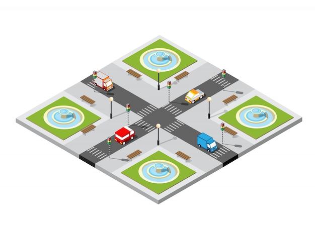 Intersection 3d de la ville Vecteur Premium