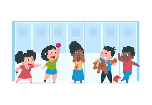 L'intimidation Des Enfants. Enfant Effrayé Souffre De Mauvais Enfants En Colère, Concept D'intimidation Se Moquant à L'école. Confrontation De Personnages De Dessins Animés Adolescents Vecteur Premium
