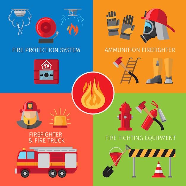 Inventaire de lutte contre l'incendie et concepts de sauvetage en cas d'incendie Vecteur Premium