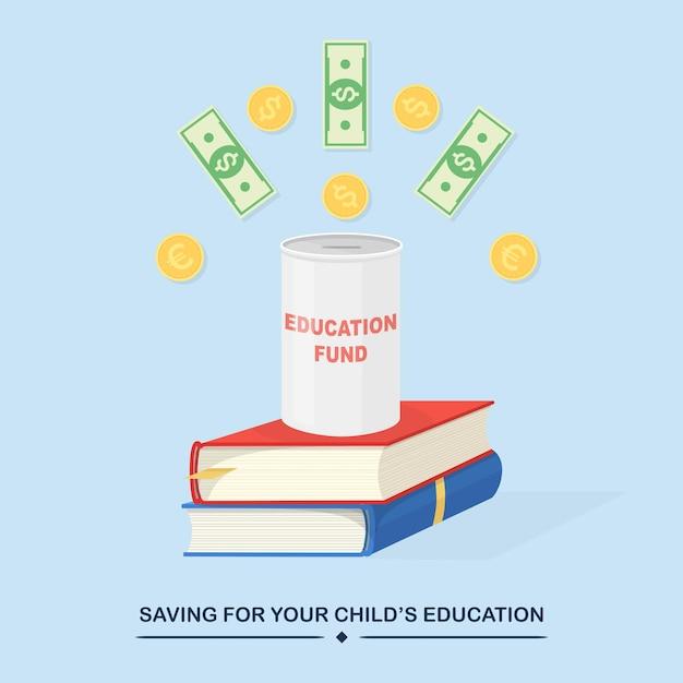 Investir De L'argent Dans Le Fonds D'éducation Vecteur Premium
